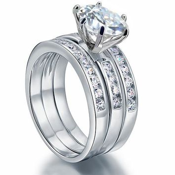 2 Ct Simulated Diamond 925 Sterling Silver Wedding Engagement Ring Set 3-Pcs