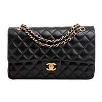 Chanel Black Quilted Lambskin Large Classic 2.55 Double Flap Bag (Mint)
