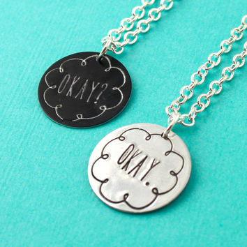 "The Fault in Our Stars - ""Okay? Okay."" Friendship Necklaces"