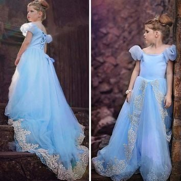 New Movie Child's Fair Tale Girls dress Kids Cosplay Costume Cinderella Princess Party Performances Dress Free shipping