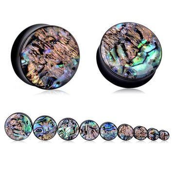 ac DCCKO2Q 1Pair Vintage Acrylic Ear Tunnel Plugs Trendy Abalone Shell Gauges Plugs Expanders Body Piercing Jewelry For Women Female 8-25mm