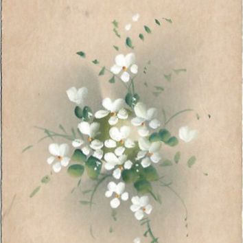 Rare Hand Painted Antique Postcard Undivided Back Easter Greeting Late 1800's - 1907 White Flowers on beautiful aged Parchment colored Card