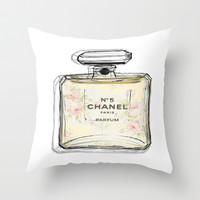 Chanel No5 Illustrated  Throw Pillow by Amy frances Illustration