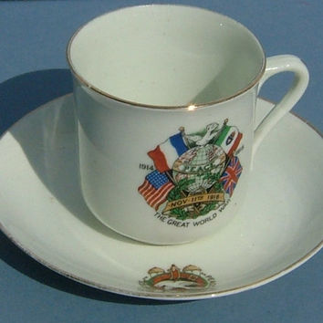 Armistice 11 Nov 1918 Crested Cup & Saucer End of the Great War - Peace and Justice