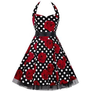 Women Casual Print Swing Floral Dress Lace Patchwork Polka Dot Vintage Rockabilly Dress