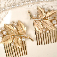 TRIFARI Pearl Gold Leaf Bridal Hair Comb PAIR, Brushed Gold Leaf Head Piece, OOAK HairPiece Set 2 Woodland Rustic Wedding Accessory Clips