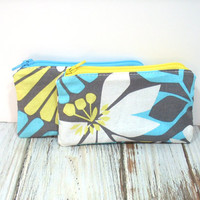 Aqua and Yellow Floral Coin Purse, Girls Change Purse, Credit Card Holder