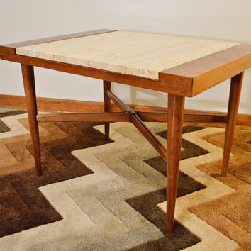 Mid Century Danish Style Italian Marble and Wood Side / End Table