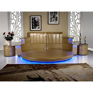 Modern Genuine Leather  King Bedroom With Led , Speaker, Round Soft Bed