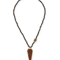 NEST Jewelry Wood Bead Arrowhead Pendant Necklace