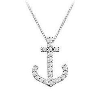Diamond Anchor Pendant : 14K White Gold - 0.15 CT Diamonds