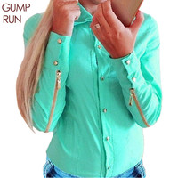 GUMPRUN Plus Size Solid Women Blouses Long Sleeves Fashion Lady Blouse With Zipper OL Shirt Women Body Suit Shirt Casual Blusas
