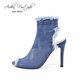 Blue jeans boots 2017 summer shoes ankle boots for women chelsea boots blue denim boots high heels sexy peep-toe woman Stiletto