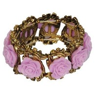 Carved Roses Stretch Bracelet - Purple | Style Icon`s Closet