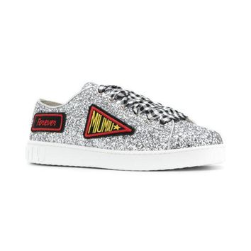 DCCKIN3 Miu Miu Glittered Logo Patch Sneakers