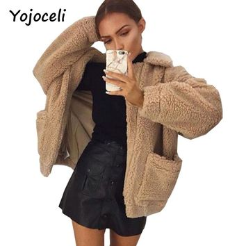 Yojoceli Lambswool zipper pockets faux fur coat Warm furry fake fur oversized women overcoats Autumn winter casual jacket coat