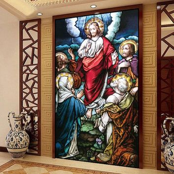 Custom size  Self-Adhesive window Glass Films sticker paper Door Stickers Vintage European Style Translucent  Jesus Christ  N625