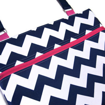 Navy blue chevron cross body purse NEW SIZE pink zipper sling adjustable strap shoulder vacation travel wallet hobo hipster shopping kindle