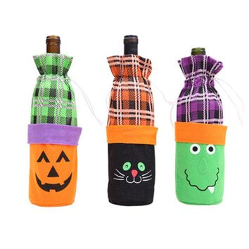1pc Halloween Decoration Witch/Pumpkin/Cat Wine Bottle Set New Year Halloween Party Decoration Bottle Cover  Home Decor