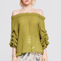 Sharon Off Shoulder Tiered Sleeve Top Discover the latest fashion trends online at storets.com