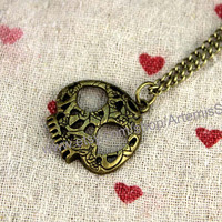 Ghost coin necklace vintage style steampunk jewelry antique gift