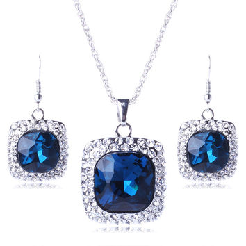 Europe Fashion Jewelry Sets Square Crystal Full Rhinestone Pendant Necklace Earrings Sets Women Statement Accessories TL96541