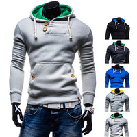 Hot Trendy Men's Fashion Design Pullover Hoodie with Button Detail