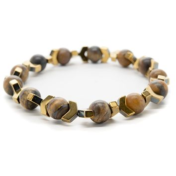 Tigers Eye and Hematite Gemstones Beaded Bracelet for Men and Women