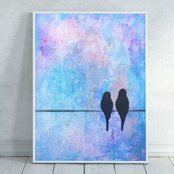 Birds On A Wire, Bird Art, Bird Wire Art, Bird Painting, Bird Gift, Birds Sitting On A Wire, Colorful Art, Bird Home Decor, Download,