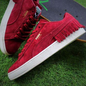 LMFUX5 PUMA Suede Bboy Fabulous Classic SOCK Suede Shoes Red Tassel Sneaker