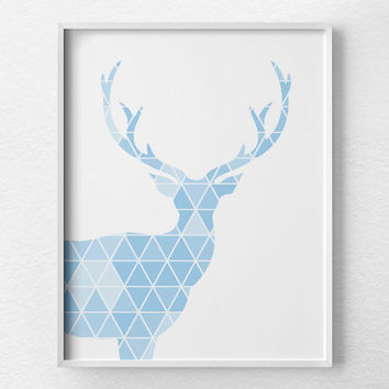 Geometric Deer Print, Deer Art, Deer Silhouette, Deer Poster, Nursery Decor, Woodland Nursery, Geometric Art, Stag Print, Blue Nursery, 0327