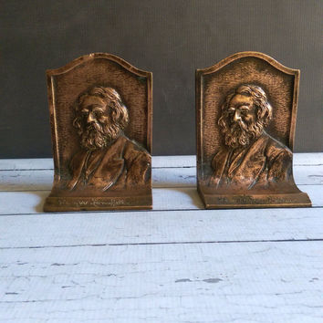 Henry Longfellow Bronze Bookends/ Bust Bookends/ Henry Longfellow / Antique Bronze Bookends