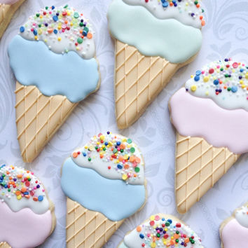 Pastel ice cream cone cookies with sprinkles - One Dozen Decorated Sugar Cookies - Perfect for birthday parties and favors