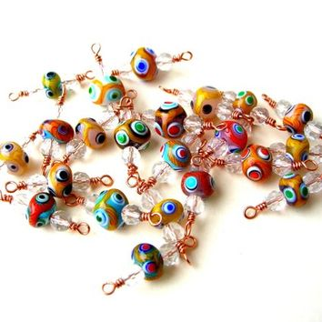 22 Bohemian Bead Charms, Boho Bead Connectors, Copper, Lampwork Bead Charm Lot