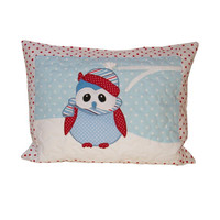 Owl Pillow Cover   Winter  Christmas Holiday Gift red blue
