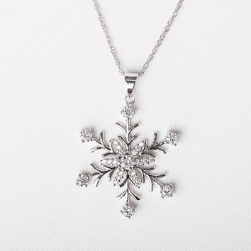 Snowflake Necklace - Kailyn Snowflake Necklace -  Christmas Necklace, Christmas Jewelry, Winter Necklace, Winter Pendant, Winter Wonderland