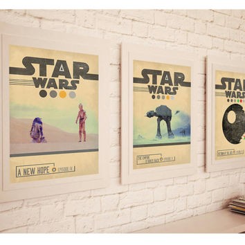 STAR WARS TRILOGY Episode 4 , 5 , 6 Movie Set Posters * Retro Vintage Minimal Design Wall Art Print* A3 A4 A2 Sizes Available