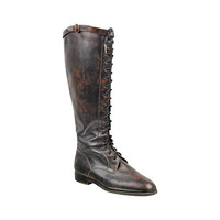 90s lace up leather boots / Barneys New York / knee high / flat boots / marbled brown leather / equestrian / size EU 39 US 8.5 8 1/2