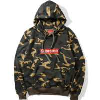 """SUPREME"" embroidery logo hooded long sleeve loose sweater camouflage color"