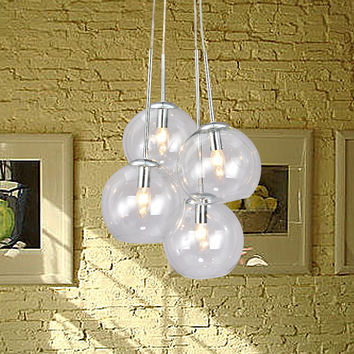 Vintage Barn Clear Glass Bubble Shade Pendant Light Max 240W with 4 Lights Chrome Finish