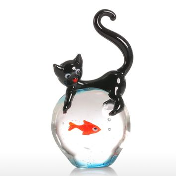 Tooarts Cat and Goldfish Gift Glass Ornament Animal Figurine Handblown Home Decor Decoration Figurines For Office Creative Craft