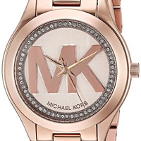 Michael Kors Women's Mini Slim Runway Logo Gold-Tone Watch MK3549