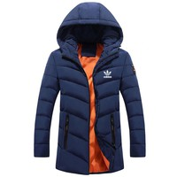 ADIDAS Clover 2018 autumn new trend sports hooded warm cotton clothing blue