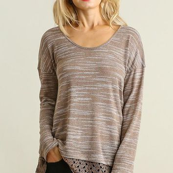 Round Neck Marled Longsleeved Top with Lace Details