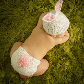Super Soft Ready to SHIP Crocheted White Baby Easter Bunny Hat and Diaper Cover set