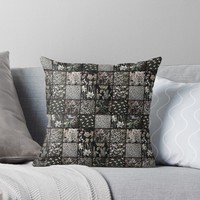 ' Faux Patchwork Quilting - Black' Throw Pillow by Gravityx9