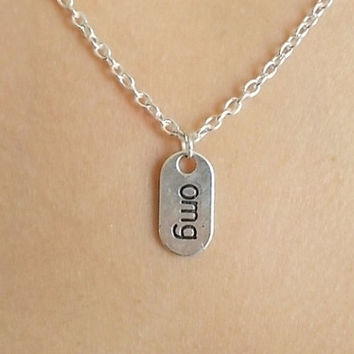 Nikajewellerybox on etsy on wanelo silver omg necklace handmade necklace word necklace fashion j aloadofball Images