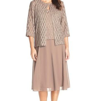 Women's Alex Evenings Chiffon Popover Dress with Open Front Jacket,