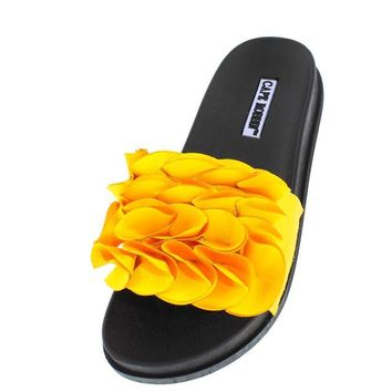 YELLOW RUFFLE SLIDE ON LOW PLATFORM SANDAL