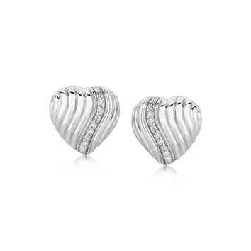 Sterling Silver Heart Diamond Embellished Wavy Rhodium Plated Earrings
